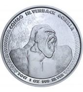 Серебряная монета 1oz Сильвербэк Горилла 5000 франков КФА 2017 Конго