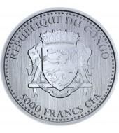 Серебряная монета 1oz Сильвербэк Горилла 5000 франков КФА 2015 Конго