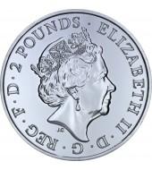 Серебряная монета 1oz Год Обезьяны 2 фунта стерлингов 2016 Великобритания