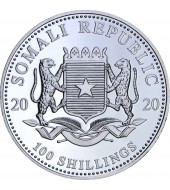Серебряная монета 1oz Слон 100 шилингов 2020 Сомали