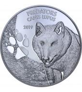 Срібна монета 1oz Вовк (Canis Lupus) 20 франків Конго 2019