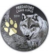Серебряная монета 1oz Волк (Canis Lupus) 20 франков Конго 2019 (позолота
