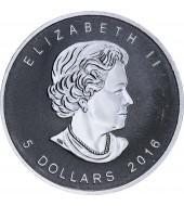 """Серебряная монета 1oz Кленовый Лист """"Инь Ян"""" 5 долларов 2016 Канада"""