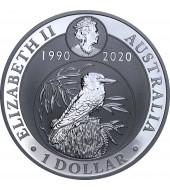 Срібна монета 1oz Кукабарра Монеті 30 років 1 долар 2020 Австралія