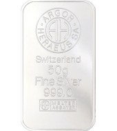 Серебряный слиток 50 грамм 999 Fine Silver Argor-Heraeus