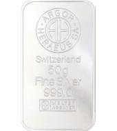 Срібний зливок 50 грам 999 Fine Silver Argor-Heraeus
