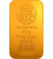 Золотий зливок 50 грам 9999 Fine Gold Argor-Heraeus