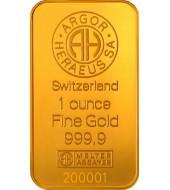 Золотой слиток Одна Унция - 31,1 грамм 9999 Fine Gold 1oz Argor-Heraeus