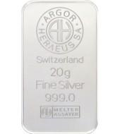 Серебряный слиток 20 грамм 999 Fine Silver Argor-Heraeus