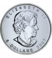 Серебряная монета 1oz Кленовый Лист 5 долларов 2007 Канада
