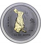 Серебряная монета 1oz Год Кролика 1 доллар 1999 Австралия (позолота)