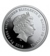 """Срібна монета 1/2oz Тасманійський Диявол (серія """"Looney Tunes"""") 50 центів 2018 Тувалу (кольорова)"""