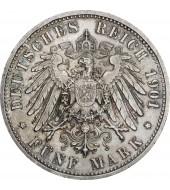 Срібна монета 5 марок 1901 200-річчя королівства Пруссія Німецька імперія
