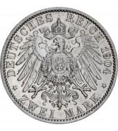 """Срібна монета """"400 років з народження Філіпа"""" 2 марки 1904 Гесен Німецька імперія"""