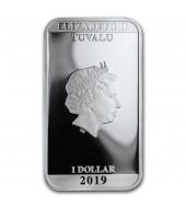 "Серебряная монета 1oz ""Чужой"" 40-летие 1 доллар 2019 Тувалу"
