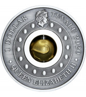 "Серебряная монета 1oz Год Мыши (Крысы) ""Вращающийся Оберег"" 1 доллар 2020 Тувалу"