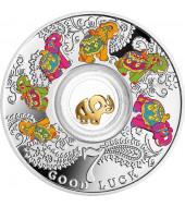 Серебряная монета Семь слоников – Счастливая семерка 500 франков 2016 Камерун (цветная)
