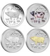 Набір срібних монет 1oz (4 шт.) Рік Свині 1 долар 2019 Австралія