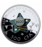 Срібна монета З Днем Народження (Зірка) 500 франків 2020 Камерун (кольорова)