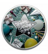 Серебряная монета С Днем Рождения (Звезда) 500 франков 2020 Камерун (цветная)