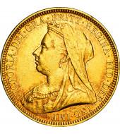 Золотая монета Соверен Виктории 1 Английский Фунт 1894 Великобритания