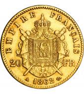 Золота монета Наполеон III 20 франків 1862 Франція