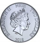 Серебряная монета 1oz Скрудж МакДак Дисней 2 доллара 2018 Ниуэ