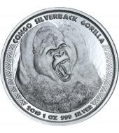 Серебряная монета 1oz Сильвербэк Горилла 5000 франков КФА 2019 Конго