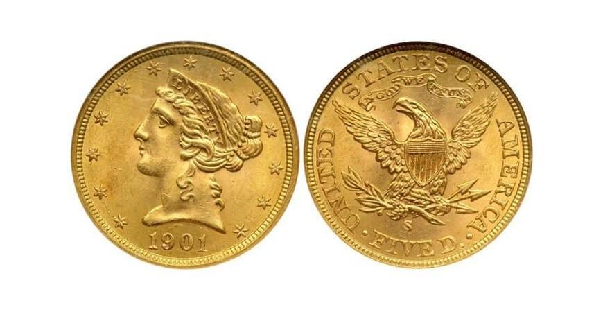 Монета 5 американських доларів